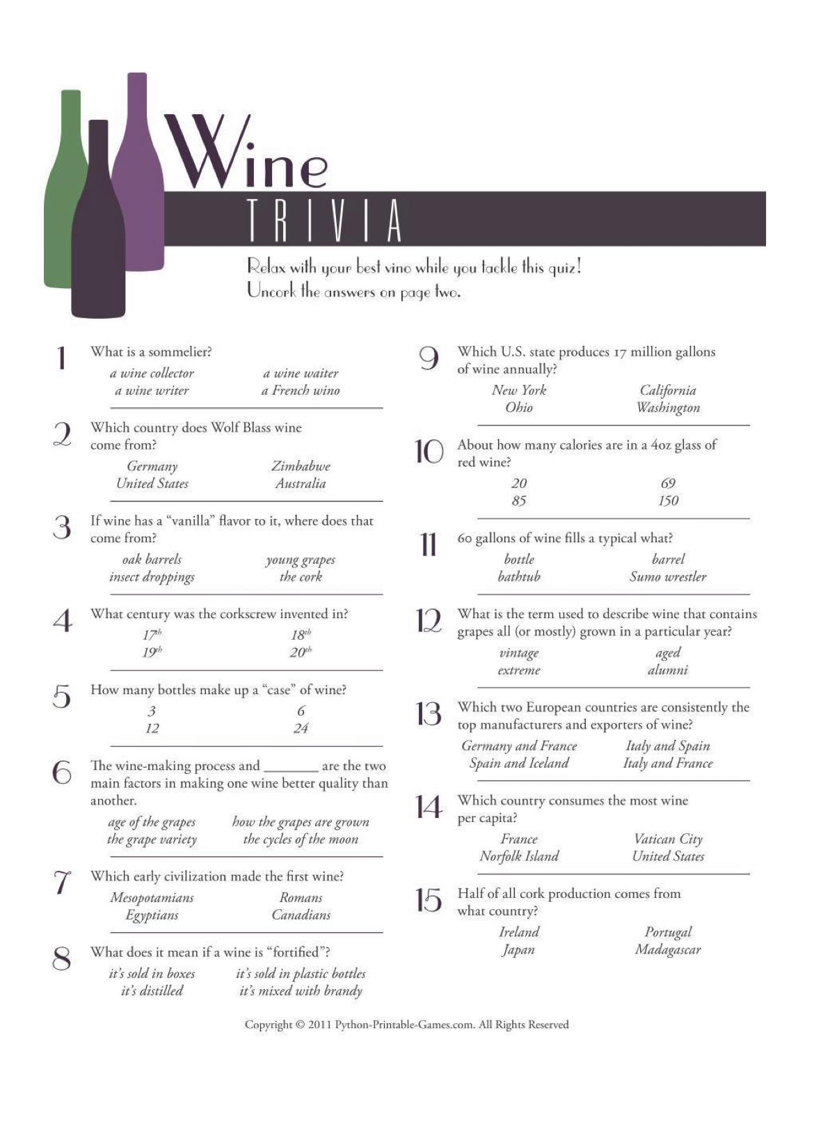 Wine Trivia 1